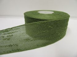 2 metres or 10 metre Roll 25mm 38mm Olive Green Vintage Slub Ribbon Cotton Net Bouncle